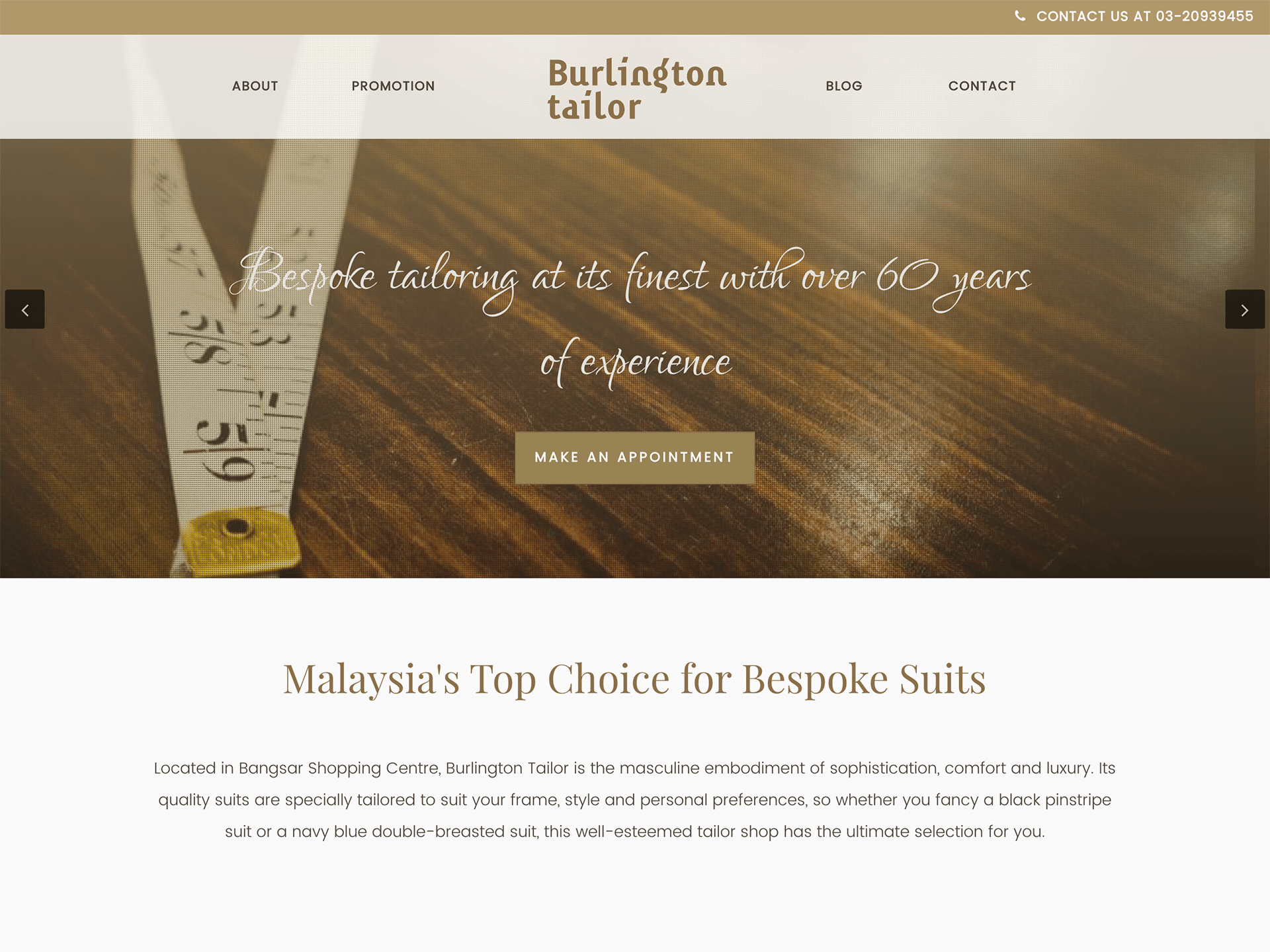 Burlington Tailor website